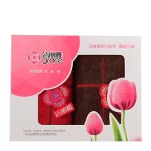 洁丽雅纯棉加厚吸水面巾6300 喜庆礼盒装(大红+咖色)