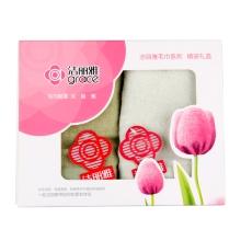洁丽雅6413毛巾两条装(深绿+浅绿)