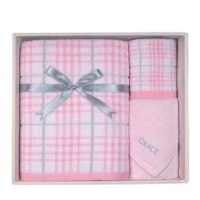 洁丽雅爱情海系列套盒(1浴*1面*1方)三件套(粉色)