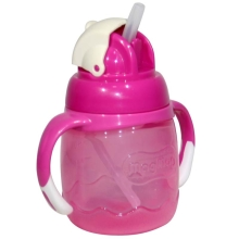 贝亲 吸管式宝宝杯(玫红色)250ml