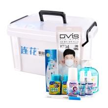 以岭 小药箱 连花家庭健康呼吸护理箱 防护组合 含8种护理用品(口罩  体温计 洗手液等)连花组合