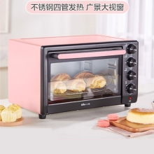 小熊(Bear)电烤箱多功能家用全自动烘焙蛋糕30升大容量  粉红色DKX-B30J1 品质生活